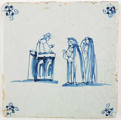 Antique Dutch Delft tile depicting the judgment of solomon 17th century