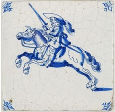 Antique Dutch Delft tile with a soldier on a staggering horse 17th century